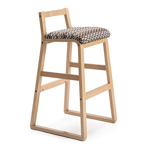 L-XAJH Bar massivholzhocker, rückenlehne, leinen Sitz umwickelt holzfarbe frühstücksküche zählerstuhl barhocker (90 cm) (Color : B)
