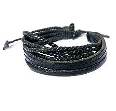Idea Regalo - Distinct® Moda Unisex Bracciale Multistrato PU Cuoio Intrecciato Braccialetto Corda (Nero)