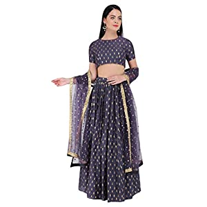 Amaira Embroidered Motif Purple and Gold Lehenga Set