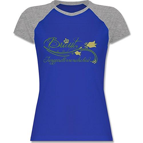 JGA Junggesellinnenabschied - Braut verspielt Blumenranken - zweifarbiges Baseballshirt / Raglan T-Shirt für Damen Royalblau/Grau meliert