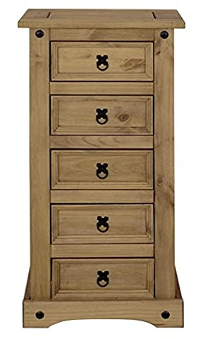 Corona Mexican Pine 5 Drawer Narrow Tallboy Chest