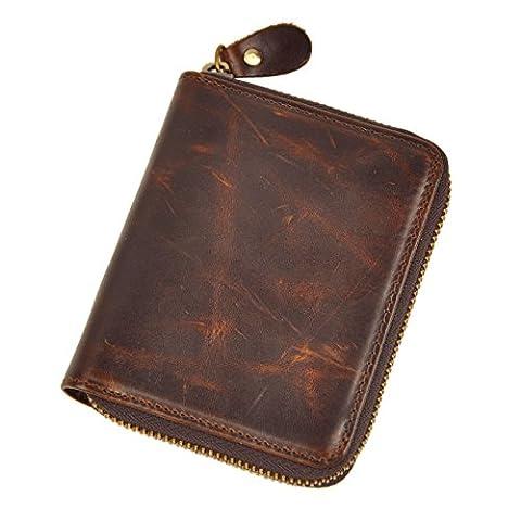 Le 'aokuu pour homme en cuir véritable de vachette portefeuille avec fermeture en métal fermeture éclair Monnaie Avec étui vertical - marron - moyen
