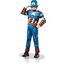 Rubies 640833S Marvel Avengers Capitán América Deluxe - Disfraz infantil para niños, talla pequeña