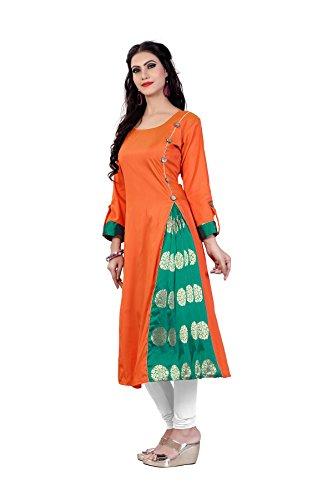Smartshop Women's Taffeta Silk A-line Long Kurtis (X-Large, Orange)