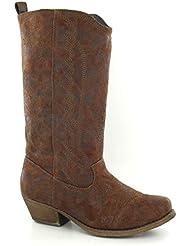 Spot On - Botas de ante sintético para mujer marrón canela