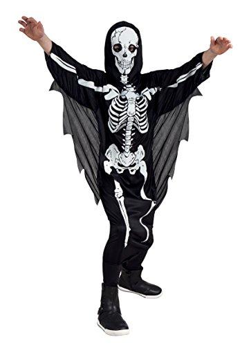 Boland 78072 - Kinderkostüm Scary Skelett, Größe 128, schwarz