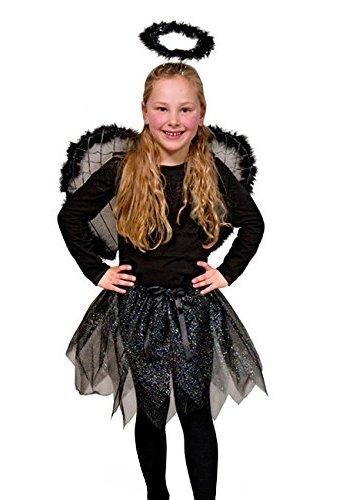 Mädchen Engel Kostüm Heiligenschein Schwarz (Schwarzer Engel Kostüm Für Kinder)