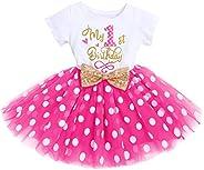 Vestito per neonato, a maniche corte, in cotone, con motivo di Minnie e topo, in tulle, da principessa, per fe