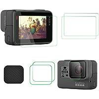 TaichiAqua Protector de pantalla de vidrio templado para GoPro Hero 6 5 con tapa de lente Tapa de 4 piezas accesorios de cámara de acción ultrafina