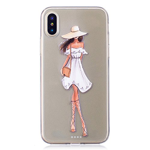 Per iPhone X,Sunrive Custodia Cover Case in molle Trasparente Ultra Sottile TPU silicone Morbida Flessibile Pelle Antigraffio protettiva(tpu ragazza) tpu ragazza