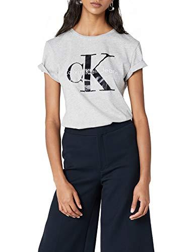 Calvin Klein Jeans Damen SHRUNKEN TEE TRUE ICON T-Shirt, Grau (Light Grey Heather 038), X-Large (Klein Jeans Shirt Calvin)