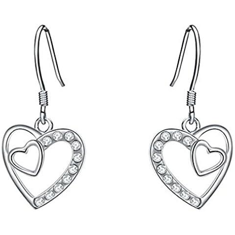 Bling Jewelry da donna platino placcato doppio cuore ciondolo fresco gancio orecchini