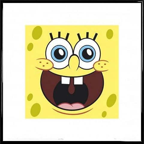 SpongeBob SchwammKopf Poster Kunstdruck und Kunststoff-Rahmen - Gesicht (40 x 40cm) (Spongebob Bilder)