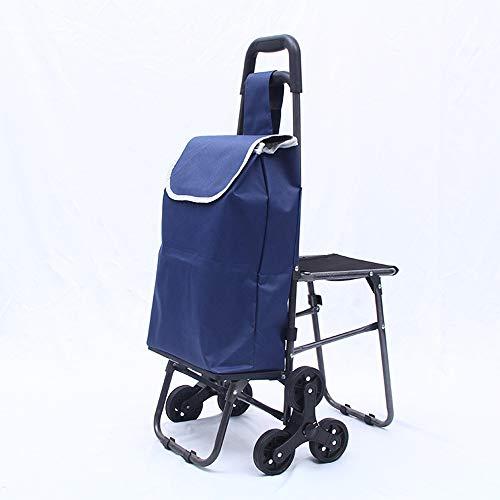 Zusammenklappbarer Einkaufswagen Mit Zusammenklappbarem Sitz Tragbarer Einkaufswagen Zusammenklappbarer Einkaufswagen Leichter Treppensteigewagen Mit Dreiecksrad Wäscherei Lebensmitteleinkauf,Blau