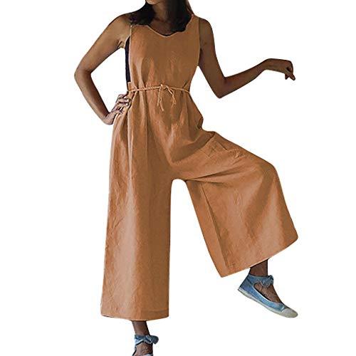 Damen Freizeithose Baggy Haremshose,Einfarbige ärmellose Damenhose mit V-Ausschnitt Schnüren Sie sich oben ärmellosen Verband langen Overall Rundhalsoverall S-XXL - Twill Womens Cargo Pocket Hosen