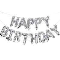 ‏‪Happy Birthday Balloons Banner,16 Inch Silver Aluminum Foil Banner Letter Balloons for Birthday Party Decorations and Supplies‬‏