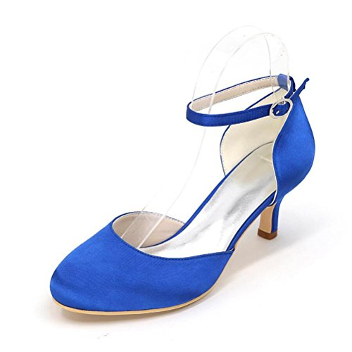 Ei&iLI Le donne di pompa i pattini da sposa in raso chiuso le dita dei piedi fibbia tacchi Court Party Dress Shoes EU35-EU42 Black
