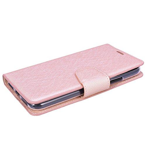 GrandEver iPhone X Hülle Gute Qualität Lederhülle Schutzhülle mit Kartenfach Ledertasche Retro Tasche Scratch PU Leder Ledercase Schale Umschlag Stil Wallet Case Flip Cover mit Transparent Weiche Sili Rose Gold