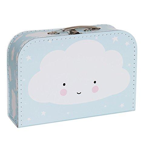A Little Lovely Company - Koffer - Kinderkoffer - hellblau - Wolke 30 x 20,5 x 9 cm