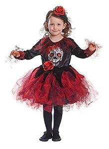 Bristol Novelty CC518  Traje Tutú Esqueleto Rojo/Negro (Mediano), Edad aprox 5-7 años