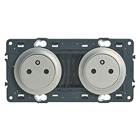 Legrand Celiane leg99755Double Outlet with Earth 2x2P + T Pre Wired for Assembly Titanium