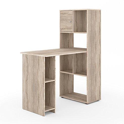 VICCO Schreibtisch Regalkombination 144cm Höhe Arbeitstisch Regal Ordner Akten Büro PC-Tisch - perfekt für das Arbeitszimmer (Eiche Sonoma) - 3 Regal Eiche Tisch