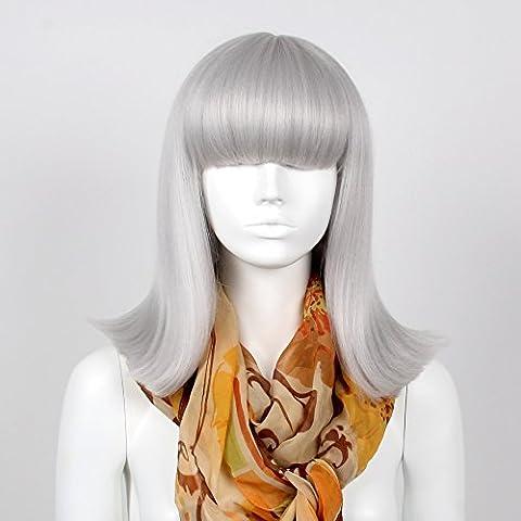 stfantasy Perücken für Frauen Medium gerade hitzebeständiges Synthetikhaar 40,6cm 181G mit Pony Wig peluca frei Hair Net + Clips, silber grau