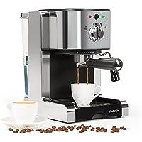 Klarstein Passionata 15 Espresso Machine • 15 Bar • Capuccino • Milk Foam • 1350W • Stylish Design for Modern Kitchens • Steam Nozzle for Frothing Milk and Preparing Hot Drinks • Silver