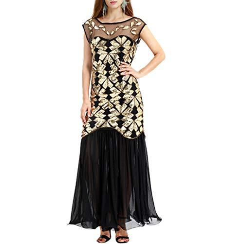 iYmitz Frauen Jahrgang 1920er Ärmellos Abendkleid Flapper Elegant Rundausschnitt Tailliertes Basic mit Gürtel(Beige,EU-40/CN-XL)