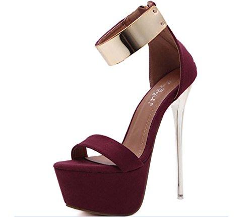NobS Mode Femmes Femmes Talons hauts talon ouvert imperméable métal creux talons hauts sandales creux sandales talons hauts sandales chaussures Chaussures Casual red wine
