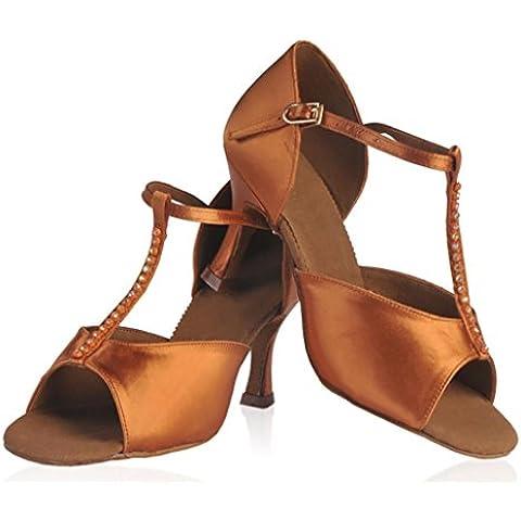 SONGYUNYANLas mujeres práctica vaca peluche suave raso Latina de baile zapatos de baile , 35