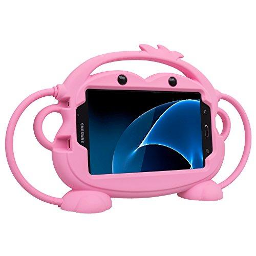 CHIN FAI Samsung Galaxy Tab 3/4 / A/E Lite 7-Zoll-Tablet-Fall für Kinder, Cartoon doppelseitigen AFFE Silikon-Schutz-Cover-Griff Standplatz Fall für Samsung Modell P3200 / T113 / T230 (Rosa)