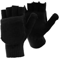 FLOSO - Guantes sin dedos convertibles en manoplas de invierno térmicos con capucha para hombre caballero (Talla Única/Negro)