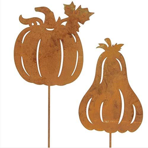 (SIDCO 2 x Gartenstecker Kürbis Rostoptik Halloween Dekoration Herbst Garten Deko)