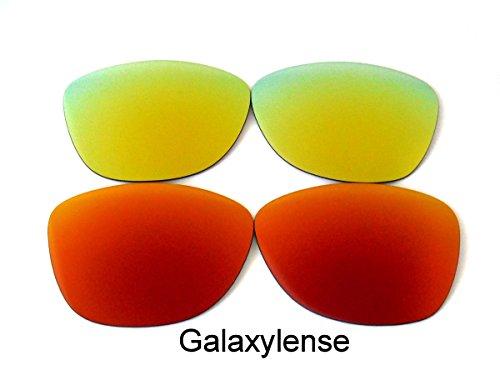 Galaxis Ersatzgläser für Oakley Frogskins Rot/Gold Farbe Polarisiert 2 Paar