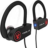 TREBLAB XR100 Écouteurs Bluetooth, Oreillette Sans Fil Stéréo, Intra-Auriculaires IPX4 Étanche, Casque de Sport, Running Anti Bruit avec Micro pour Smartphone Android Apple iPhone, Windows (Noir)