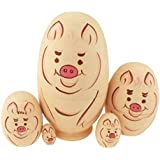 Cute Egg Shape Animal Theme Handmade Wooden Russian Nesting Dolls Matryoshka Dolls Set 5 Pieces For Kids Toy Birthday Christmas Easter Gift Home Decoration-Pig