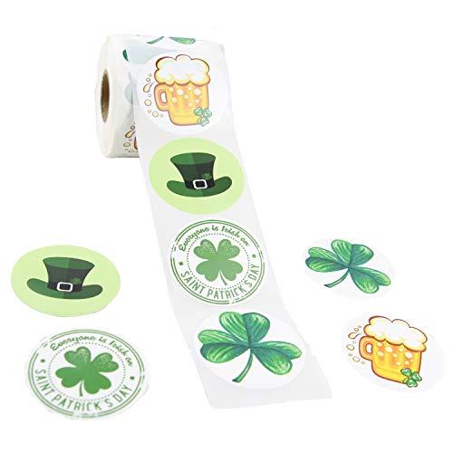 St. Patrick's Day Aufkleber, Rolle, 5,1 cm, rund, 4 Muster, Kleeblatt, Bier, Hut, Party-Dekoration, 480 Stück