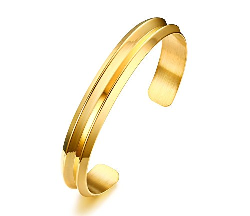 Vnox Edelstahl Haarband Nut offene Manschette Armreif Gold,56 mm Durchmesser