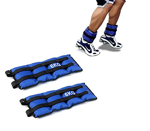 Mediawave store coppia di pesi 6 kg per caviglie e polsi fitness jogging palestra