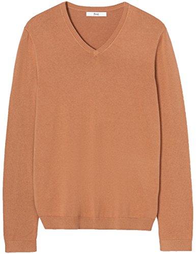 FIND Pullover Herren mit V-Ausschnitt und Rippenbündchen Beige (Camel Marl)