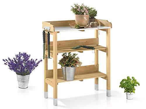 Florabest Pflanztisch für Garten Terrasse Balkon TANNEN Tannenholz Holz verzinkte Metall-Arbeitsfläche