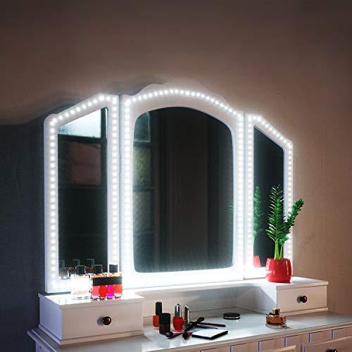 SHINELINE Spiegelleuchte, 4M/13Ft Led Spiegelleuchte 6000k mit Netzteil und Dimmbar für Schminktisch mit Beleuchtung.Schminklicht,Schminklampe,MEHRWEG.(Spiegel Nicht Inbegriffen) -