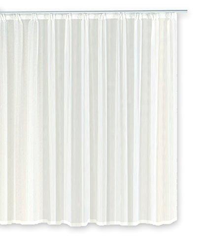 Voile Dekoschal Gardine Emotion weiß Organza Vorhang Kräuselband klassisch transparent kurz mittel oder lang Store #1309 (140x145)