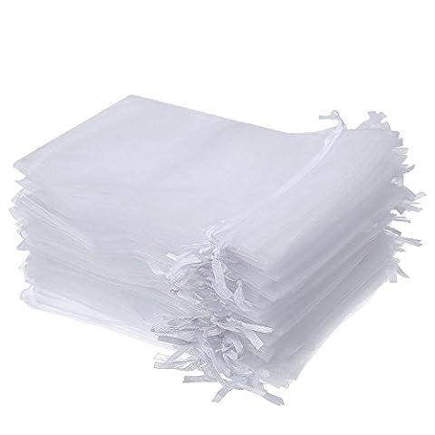Mudder 50 Stück 4 mal 6 Zoll Organza Geschenkbeutel Tunnelzug Schmuckbeutel Hochzeit Party Mitbringsel Tasche (Weiß)
