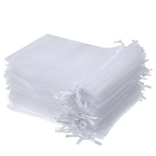 50 pezzi 4 per 6 pollice sacchetti di regalo in organza buste gioielli coulisse sacchettini di matrimonio festa favore (bianco)