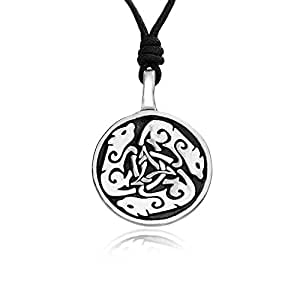Llords Dogs Dog Wolf Celtic Circle Pewter Pendant Necklace
