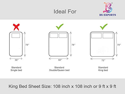 BS EXPORTS Luxury 210 TC Cotton King Size Double Bed Sheet (9 ft x 9 ft) with 2 Pillow Covers, White