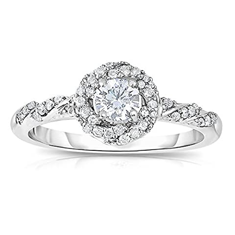 Half Carat Round Diamond Halo Engagement Ring in White Gold