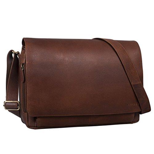 STILORD 'Tom' Vintage Leder Umhängetasche für Studium Uni Büro Arbeit 15 Zoll Laptoptasche DIN A4 Schultertasche Echtleder, Farbe:havanna - braun